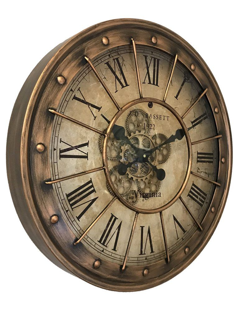 Brass Barrel Top Skeleton Wall Clock - 60cm