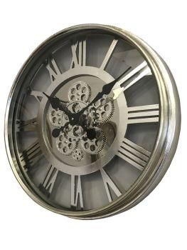 Silver Skeleton Wall Clock - 55cm