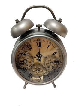 Silver Faux Alarm Skeleton Clock - 26cm