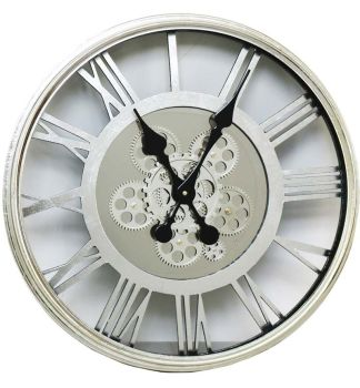 Round Roman Numerals Skeleton Cog Wall Clock 55cm