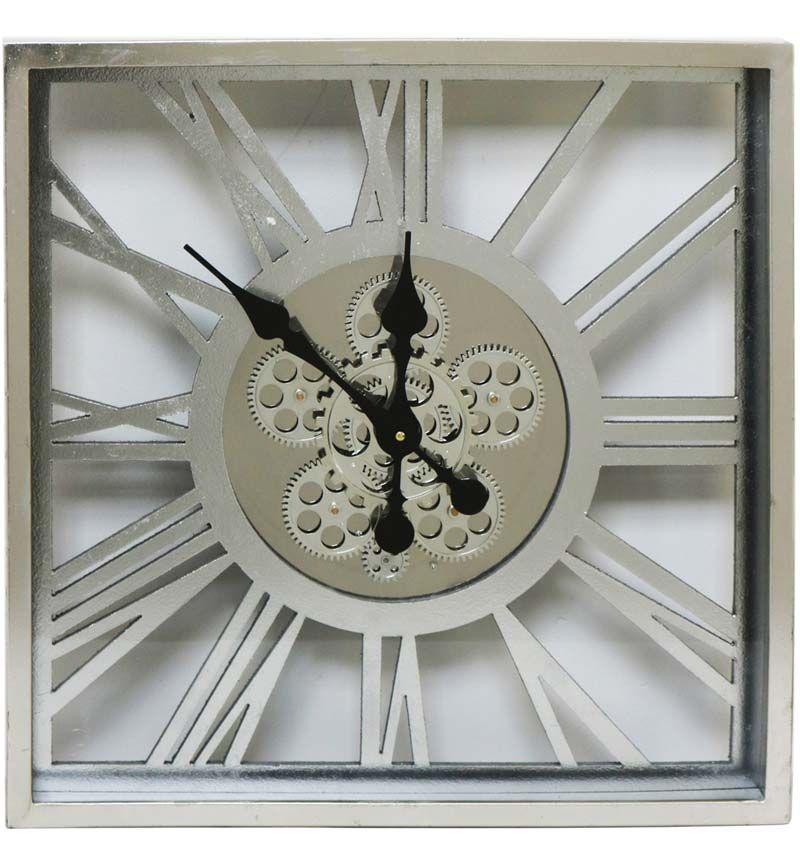 Square Roman Numerals Skeleton Cog Wall Clock 55cm