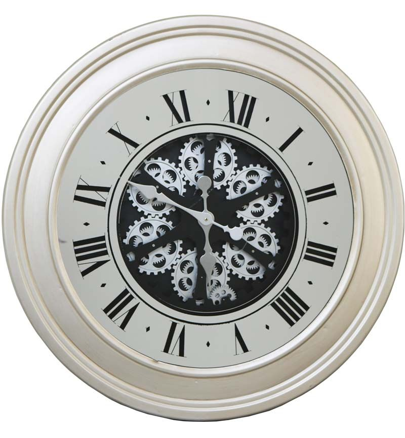 Round Roman Numerals Brushed silver Skeleton Cog Wall Clock 80cm