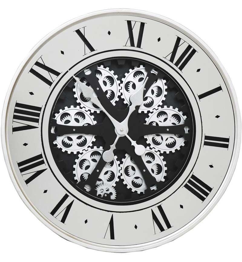 Silver Frame Mirrored Skeleton Wall Clock - 59.5cm