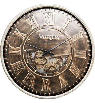 Silver Frame Antiqued Skeleton Wall Clock - 103cm