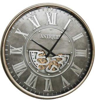 Silver Frame Pewter Skeleton Wall Clock - 103cm