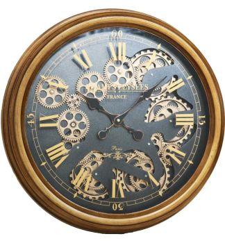 Gold Frame and Black Skeleton Wall Clock - 52.5cm