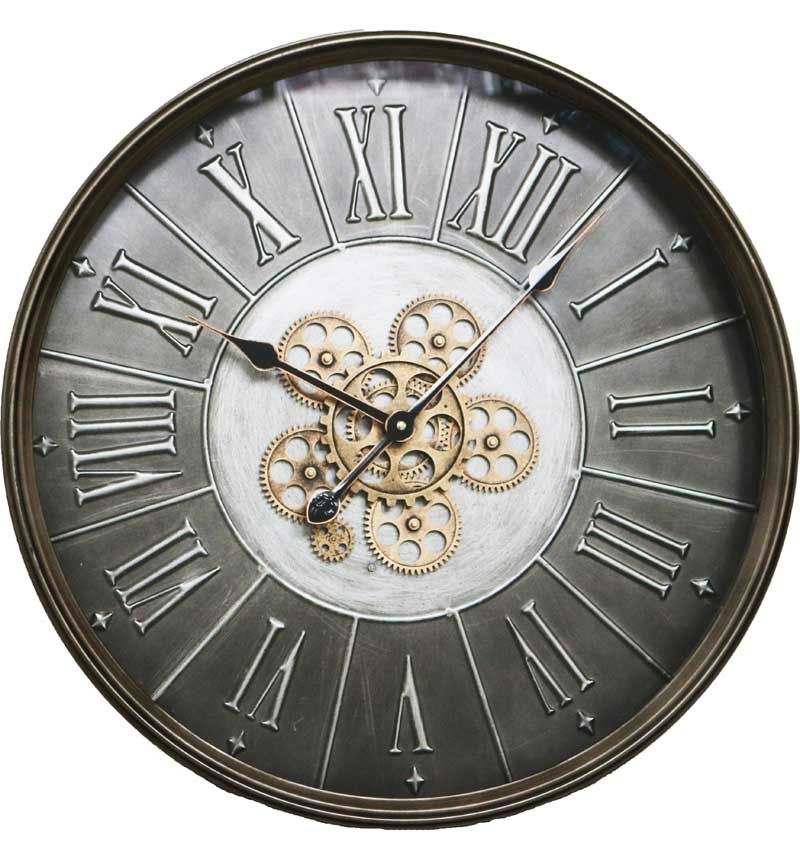 Silver Frame Pewter Skeleton Wall Clock - 60cm