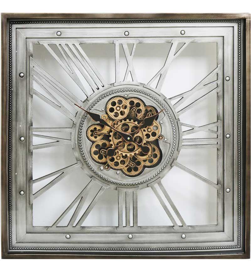 Square Roman Numerals Antique Silver Skeleton Cog Wall Clock 80cm