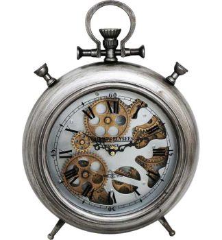 Pewter Silver Faux Alarm Skeleton Clock - 28cm