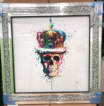 "Patrice Murciano Framed ""Crown Skull"" print 90cm x 90cm in a Diamond crush frame"