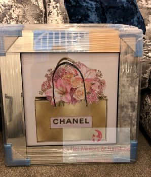 "Mirror Framed Sparkle Glitter Art "" Chanel Bouquet Pink"" mirror frame"