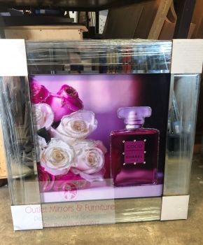 "Mirror framed Sparkle Glitter Art ""Chanel Coco Mademoiselle Perfume ""item in stock"