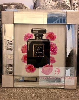 "Mirror framed Sparkle Glitter Art ""Chanel Coco Noir Perfume Roses """