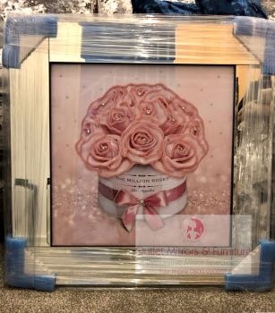 Mirror Framed Sparkle Glitter Art Million Roses Pink in stock