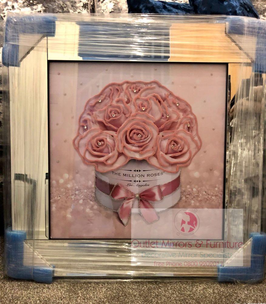 Mirror Framed Sparkle Glitter Art Million Roses Pink in stock