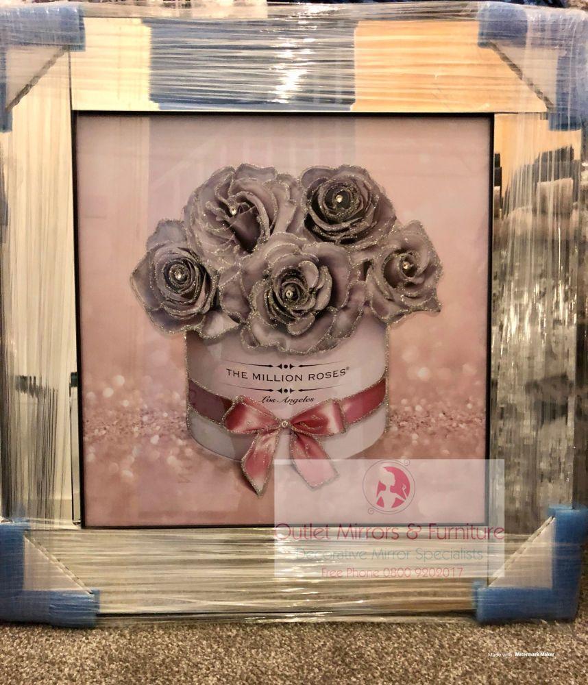 Mirror Framed Sparkle Glitter Art Million Roses Grey Silver in stock