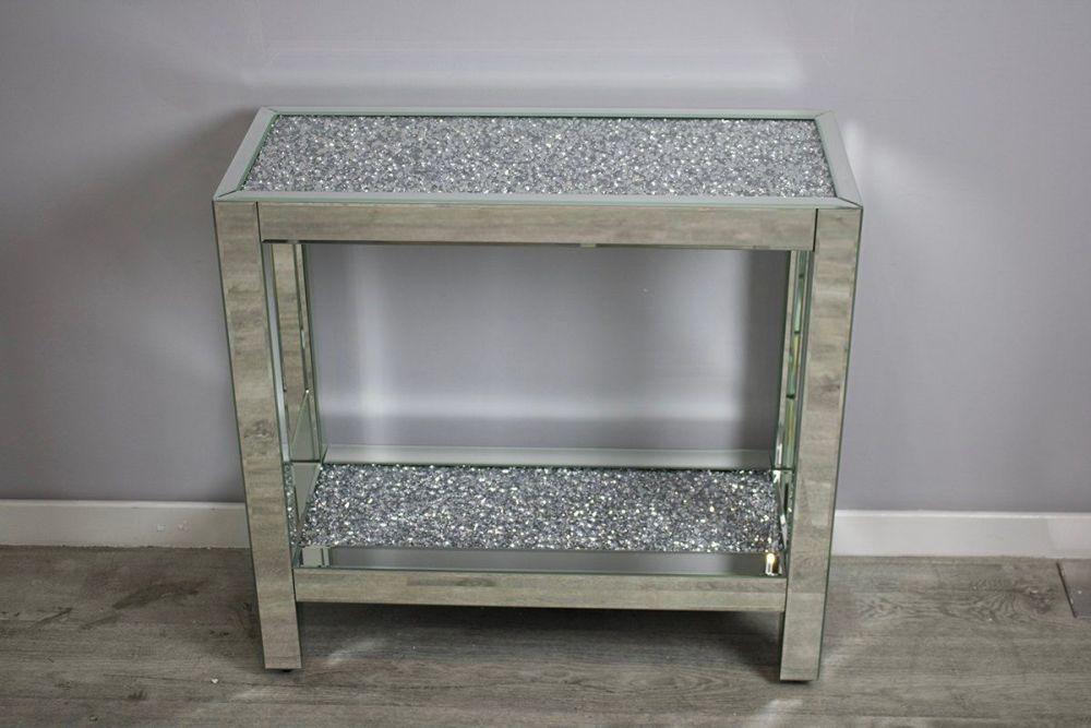 *New Diamond Crush Crystal Sparkle Console Table with Diamond Crush Shelf 8