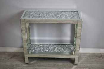 *New Diamond Crush Crystal Sparkle Console Table with Diamond Crush Shelf 85cm wide