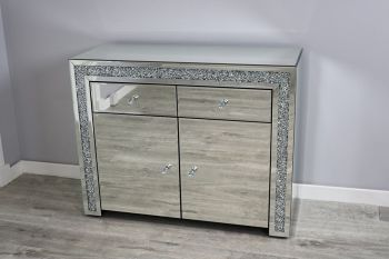 * New Diamond Crush Sparkle Crystal Mirrored 2 draw 2 Door Sideboard with crystal handles in stock