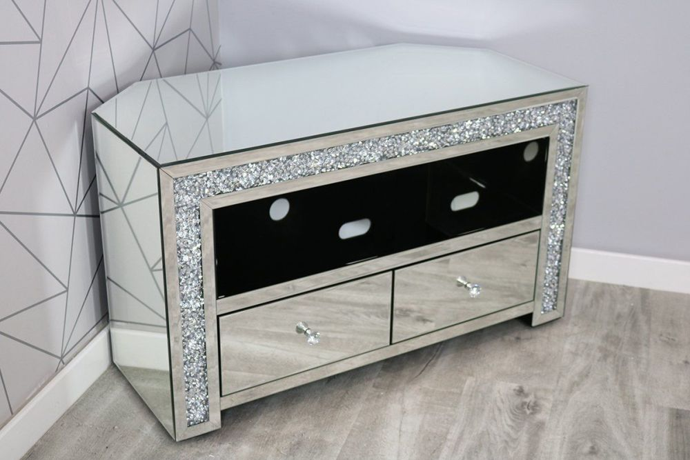 * New Diamond Crush Sparkle Mirrored TV 2 draw Corner Entertainment Unit