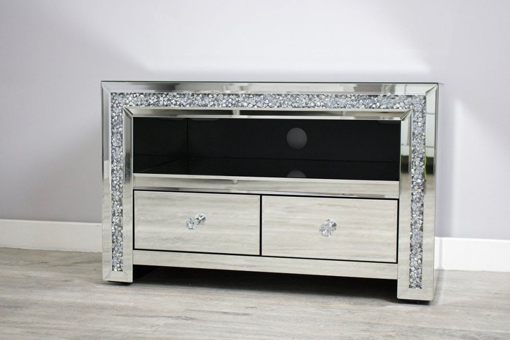 * New Diamond Crush Sparkle Mirrored TV 2 draw Entertainment Unit 80cm wide