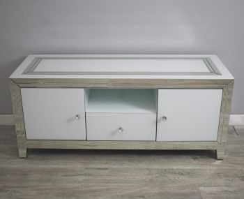 Bianco luxury Modern Silver & White Extra Large Mirrored Tv Base 136cm