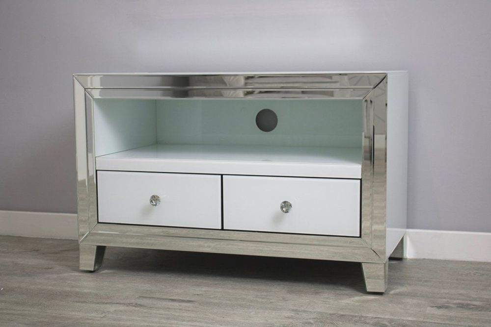 luxury Modern Silver & White Mirrored Tv Base 85cm