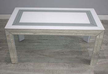 Bianco White & Mirrored Rectangular Coffee Table