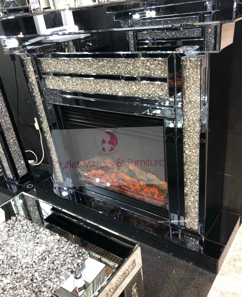 * Diamond Crush Sparkle Mirrored fire surround with electric fire IN Smoked