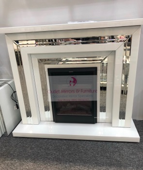Bianco White & Silver Mirrored Fire Surround  with electric fire