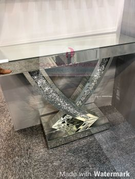 *Diamond Crush Crystal Curve Console Table 90cm in stock