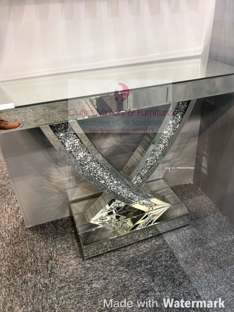 *Diamond Crush Crystal Curve Console Table 90cm in stock for fast delivery