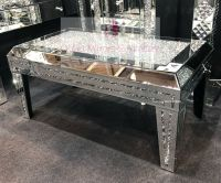 * New Diamond Crush Sparkle Crystal Mirrored Rectangular Coffee Table with crush legs and top in stock