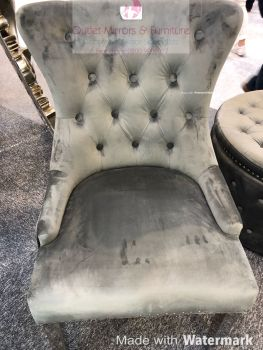 Luxury Knocker Back Silver Grey Velvet Dining Chair with chrome leg