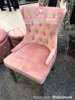 Luxury Knocker Back Pink Velvet Dining Chair with chrome leg