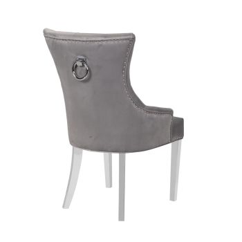 Luxury Knocker Back Light Grey Velvet Dining Chair with chrome leg