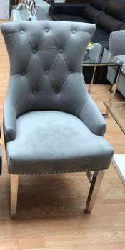 Luxury Knocker Back Light Grey Velvet Dining Chair with chrome leg