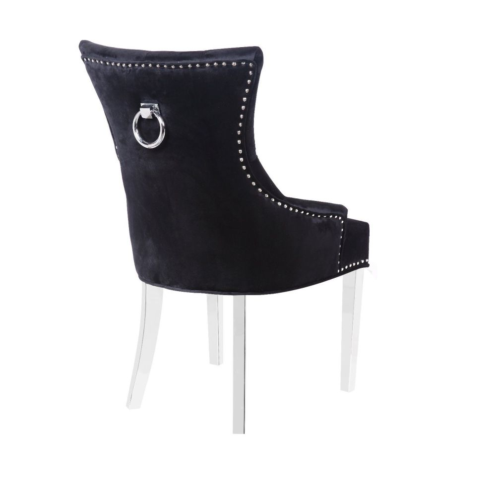 Knocker Back Black Velvet Dining Chair with chrome leg