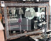 * Diamond Crush Wall Mirror with a Rose Gold Mirrored Frame 120cm x 80cm in stock