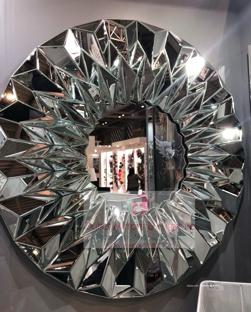 *Multi faceted Large Round Wall Mirror 120cm dia