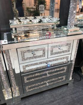 * Diamond Crush Sparkle Pillar Mirrored 3+2 Chest of Drawers