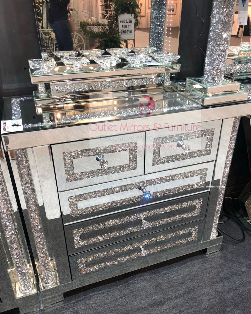 * Diamond Crush Sparkle Pillar Mirrored 3+2 Chest of Drawers