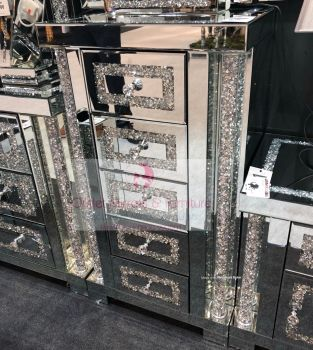 * Diamond Crush Sparkle Pillar Mirrored 5 Draw Tall Boy Chest of Drawers