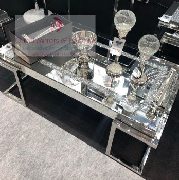 * New Diamond Crush Crystal Sparkle Coffee Table with Silver Chrome base frame