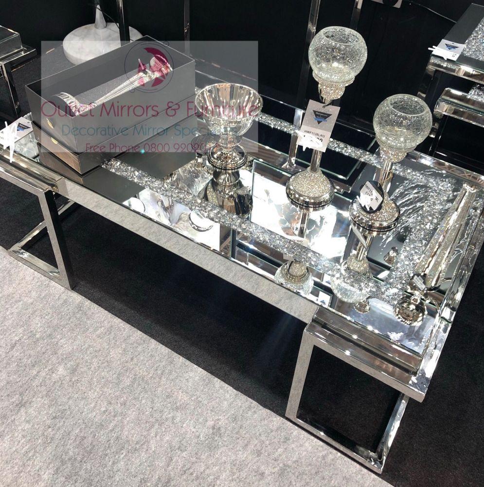 * New Diamond Crush Crystal Sparkle Coffee Table with Silver Chrome base fr