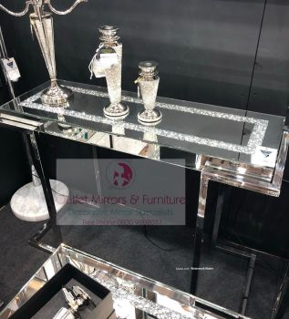 * New Diamond Crush Crystal Sparkle Console Table with Silver Chrome base frame
