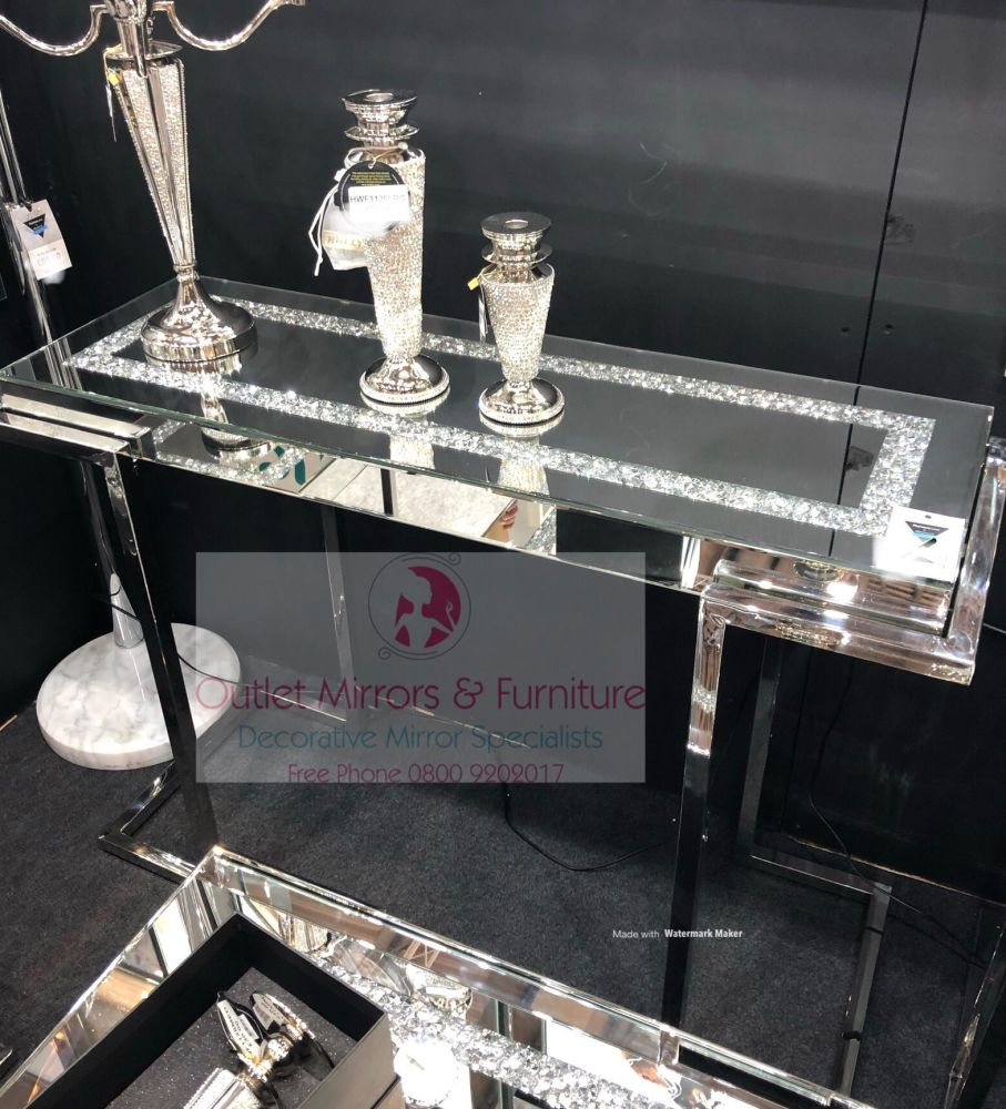 * New Diamond Crush Crystal Sparkle Console Table with Silver Chrome base f