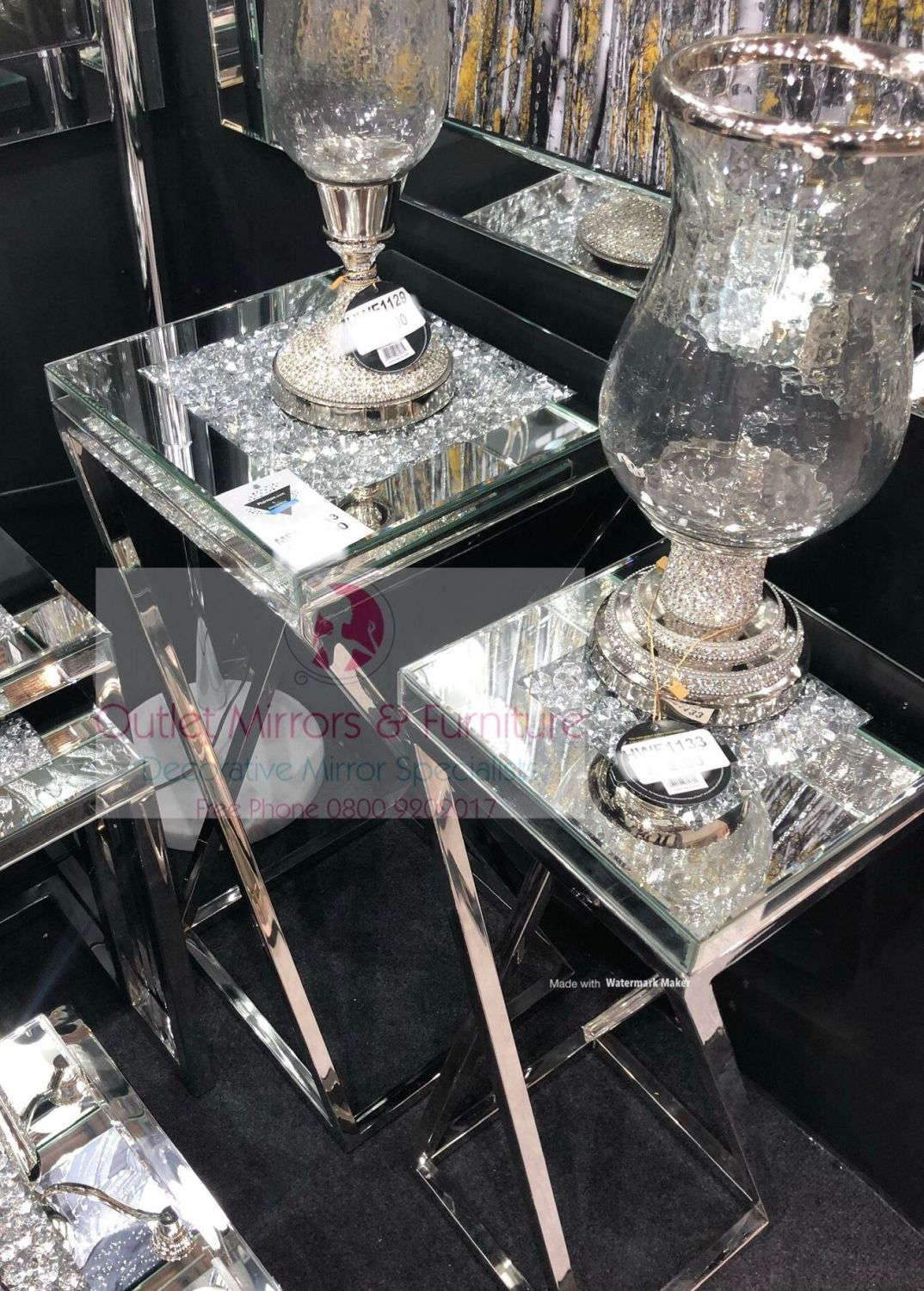 * New Diamond Crush Crystal Sparkle Large & Medium Lamp Tables with Silver