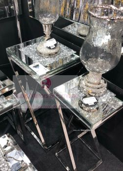 * New Diamond Crush Crystal Sparkle Large & Medium Lamp Tables with Silver Chrome base frame