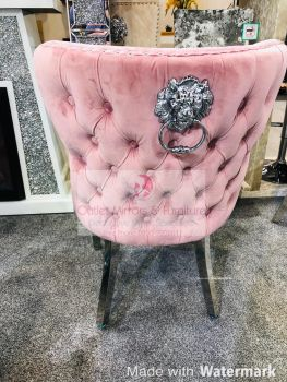 Lion Knocker Back Dining Chair Quilted Stitch seat and Buttoned Back Design in Pink with Chrome Leg